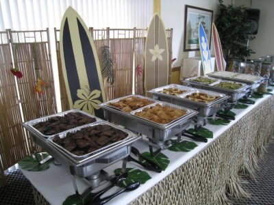 Surfboard buffet style set up - Hood River